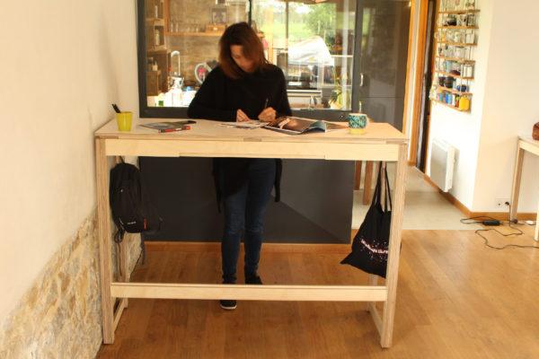 table bar debout bois
