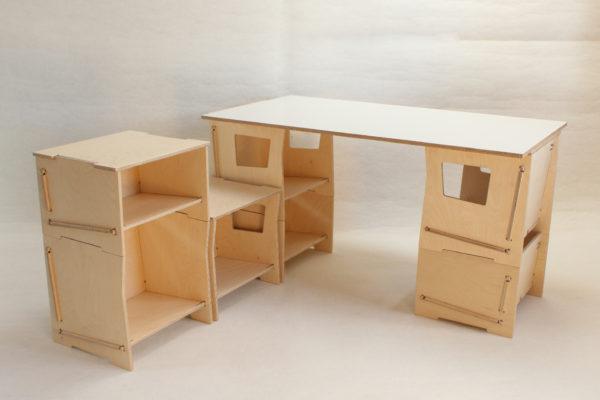 bureau composable boite bois
