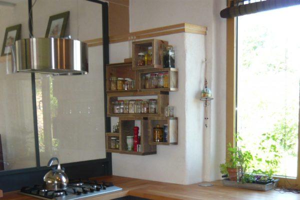 étagère murale épice bois
