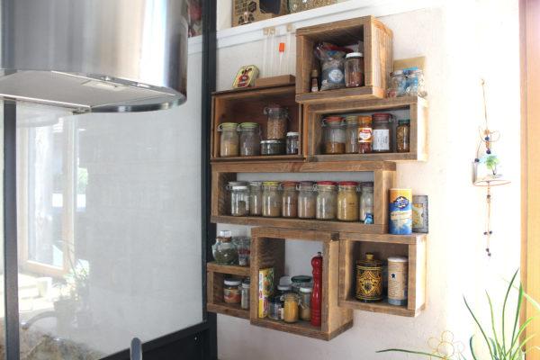 étagère épice bois recyclé